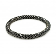 **Closeout** Sterling Silver Black Rhodium Plated Box Link Stretchable Italian Bracelet - ITB00007BLK