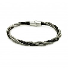 **Closeout** Sterling Silver Rhodium Black Rhodium Plated Twist Rope Italian Bracelet - ITB00008BLK/RH