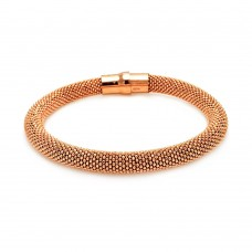 -Closeout- Wholesale Sterling Silver 925 Rose Gold Plated Large Beaded Italian Bracelet - ITB00010RGP