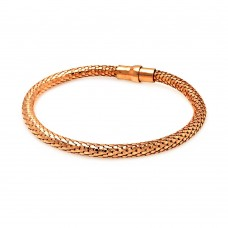 **Closeout** Wholesale Sterling Silver 925 Rose Gold Plated Skinny Snake Skin Italian Bracelet - ITB00017RGP