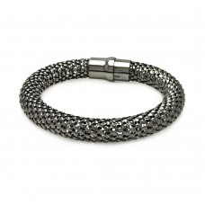 **Closeout** Sterling Silver Black Rhodium Plated Thick Beaded Italian Bracelet - ITB00018BLK