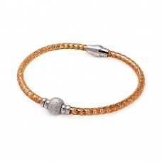**Closeout** Wholesale Sterling Silver 925 Rose Gold Plated Sterling Silver Bead Italian Bracelet - ITB00027RGP