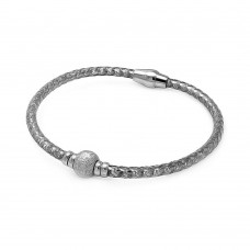 **Closeout** Sterling Silver Rhodium Plated Sterling Silver Bead Italian Bracelet - ITB00027RH