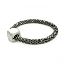 Sterling Silver Black Rhodium Plated Square Matte Finish Bead Italian Bracelet - ITB00031BLK