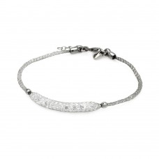 **Closeout** Sterling Silver Rhodium Plated Clear CZ Italian Bracelet ITB00041RH