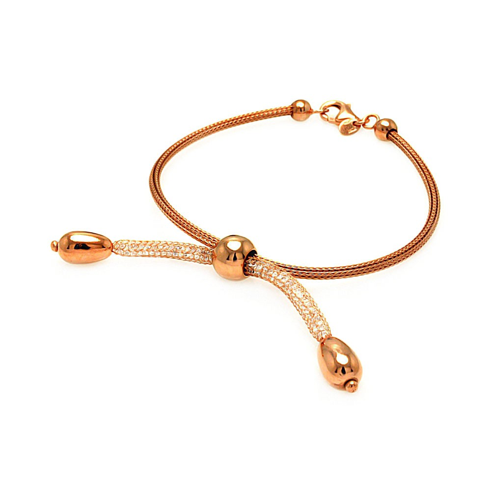 -Closeout- Wholesale Sterling Silver 925 Rose Gold Rhodium Plated Italian Three Middle Beads Bracelet - ITB00073RGP