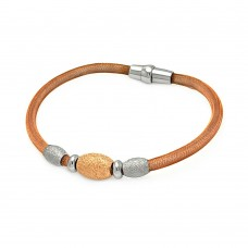 -Closeout- Wholesale Sterling Silver 925 Rose Gold Plated 3 Shiny Beads Italian Bracelet - ITB00083RGP