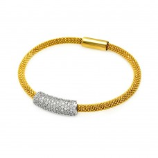 **Closeout** Sterling Silver Rhodium and Gold Plated Clear CZ Bar Italian Bracelet - ITB00084GP