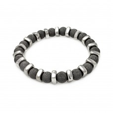 **Closeout** Sterling Silver Black Rhodium Plated Shiny Bead Bar Stretchable Italian Bracelet - ITB00089BLK