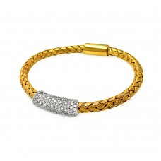 **Closeout** Sterling Silver Rhodium and Gold Plated Clear CZ Bar Braided Italian Bracelet - ITB00090GP