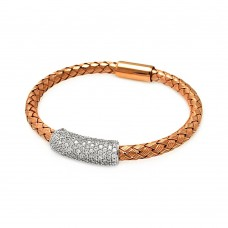 **Closeout** Sterling Silver Rhodium and Rose Gold Plated Clear CZ Bar Braided Italian Bracelet - ITB00090RGP