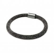 **Closeout** Sterling Silver Black Rhodium Plated Bead Italian Bracelet - ITB00091BLCK