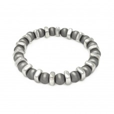 **Closeout** Wholesale Sterling Silver 925 Rhodium Plated Stretchable Bead Italian Bracelet - ITB00093BLK