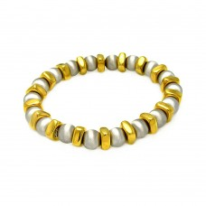 **Closeout** Sterling Silver Rhodium and Gold Plated Stretchable Bar and Bead Italian Bracelet - ITB00093GP