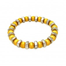 Sterling Silver Gold Plated Stretchable Bead Italian Bracelet - ITB00093GPO