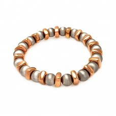 Sterling Silver Rhodium and Rose Gold Plated Stretchable Bar and Bead Italian Bracelet - ITB00093RGI