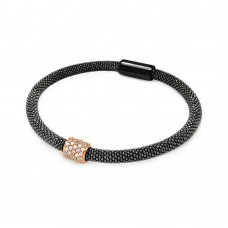 **Closeout** Sterling Silver Black Rhodium and Rose Gold Plated Bar Clear CZ Beaded Italian Bracelet - ITB00096BRH