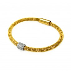 **Closeout** Sterling Silver Gold and Rhodium Plated Bar Clear CZ Beaded Italian Bracelet - ITB00096GP