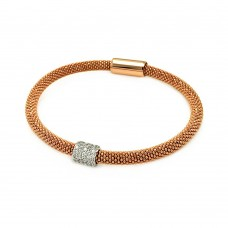 -Closeout- Wholesale Sterling Silver 925 Rose Gold and Rhodium Plated Bar Clear CZ Beaded Italian Bracelet - ITB00096RGP