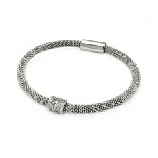 **Closeout** Sterling Silver Rhodium Plated Bar Clear CZ Beaded Italian Bracelet - ITB00096RH