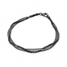 **Closeout** Sterling Silver Black Rhodium Plated Net Wrap Italian Bracelet - ITB00111BLK