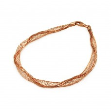 **Closeout** Wholesale Sterling Silver 925 Rose Gold Plated Net Wrap Italian Bracelet - ITB00111RGP