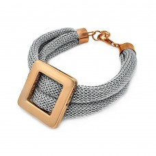 **Closeout** Sterling Silver Rhodium and Rose Gold Plated Square Center Italian Bracelet - ITB00116
