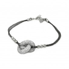 **Closeout** Sterling Silver Black Rhodium Plated 3 Bead Sides Knot Center Italian Bracelet - ITB00119BLK