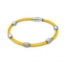 **Closeout** Sterling Silver Gold Plated Bead Mesh Italian Bracelet - ITB00125GP