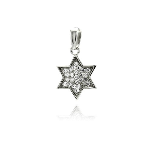 Wholesale Sterling Silver 925 Rhodium Plated Star CZ Dangling Pendant - ACP00026
