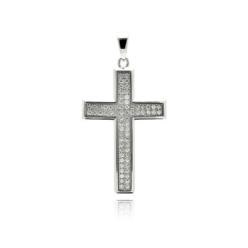 Wholesale Sterling Silver 925 Rhodium Plated Cross Micro Pave CZ Dangling Pendant - ACP00030