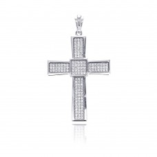 Wholesale Sterling Silver 925 Rhodium Plated Cross Micro Pave CZ Dangling Pendant - ACP00067