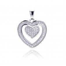 Sterling Silver Rhodium Plated Open Heart Micro Pave CZ Dangling Pendant acp00070