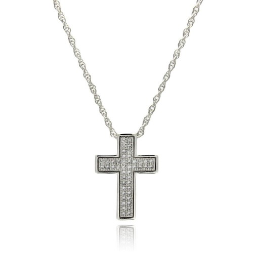 Wholesale Sterling Silver 925 Rhodium Plated Clear CZ Cross Pendant Necklace - STP01326