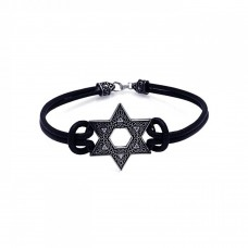 **Closeout** Silver Oxidized Star Of David on a Leather Bracelet - OXB00005