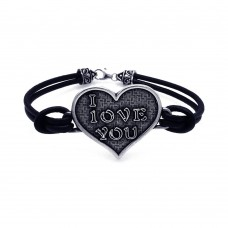 **Closeout** Silver Oxidized I LOVE YOU Heart Leather Bracelet - OXB00006