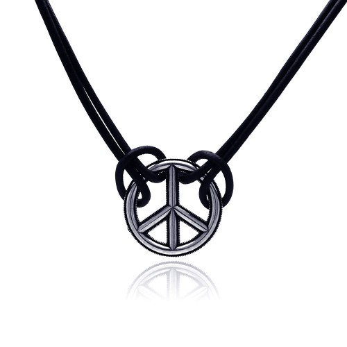 Wholesale Sterling Silver 925 Oxidized Peace Necklace - OXN00003