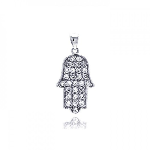 Wholesale Sterling Silver 925 Rhodium Plated Hand CZ Dangling Pendant - ACP00022