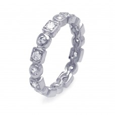 Wholesale Sterling Silver 925 Rhodium Plated Clear Square Round CZ Stackable Eternity Ring - AAR0009