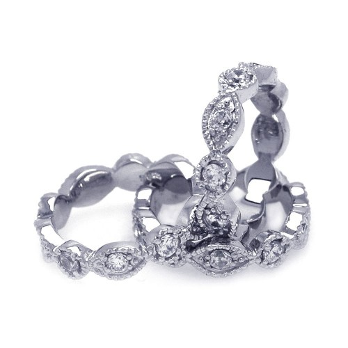 Wholesale Sterling Silver 925 Rhodium Plated Clear Round Marquise CZ Stackable Eternity Ring Set - AAR0019