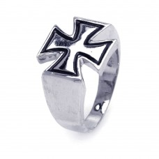 Sterling Silver Rhodium and Black Rhodium Plated High Polish Cross Ring - AAR0020