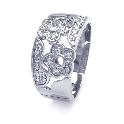 Wholesale Sterling Silver 925 Rhodium Plated Pave Clear CZ Flower Ring - AAR0027