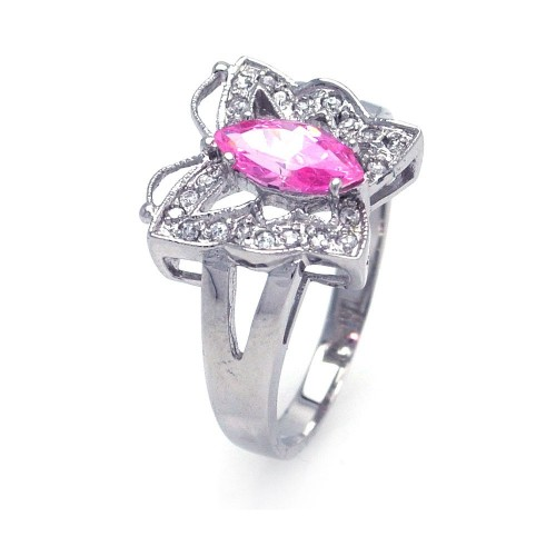 Wholesale Sterling Silver 925 Rhodium Plated Pink Marquise Center Clear CZ Butterfly Ring - AAR0030