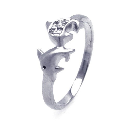 Wholesale Sterling Silver 925 Rhodium Plated CZ Dolphin Ring - AAR0039