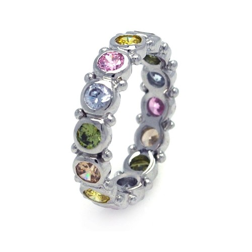 Wholesale Sterling Silver 925 Rhodium Plated Multi Colored CZ Stackable Eternity Ring - AAR0041
