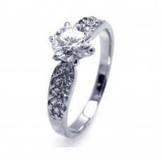 Sterling Silver Rhodium Plated Clear Pave CZ Solitaire Ring aar0061