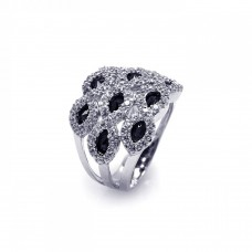 Sterling Silver Rhodium Plated Clear & Black Marquise CZ Cigar Band Ring aar0068