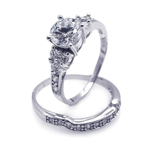Wholesale Sterling Silver 925 Rhodium Plated Clear Pave CZ Engagement Ring Set - AAR0069