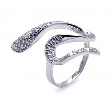 Wholesale Sterling Silver 925 Rhodium Plated Pave Set CZ Snake Ring - AAR0084