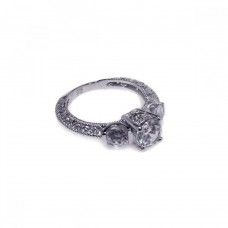 Wholesale Sterling Silver 925 Rhodium Plated Pave Clear CZ Past Present Future Ring - ACR00001